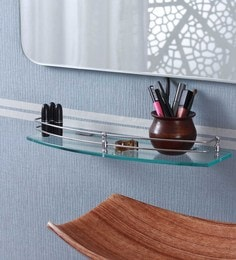 Ankur Bathfitt Arch Shape Transparent Glass & Stainless Steel 18 X 6 Inch Bathroom Shelf (Model: Gs 04 B)
