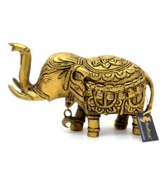 Antique Yellow Brass Elephant With Bell Showpiece