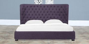 Andalusia Queen Size Upholstered Bed In Plum Finish