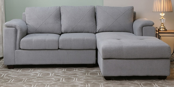 Andres Lhs 2 Seater Sofa With Lounger In Ash Grey Colour By Woodsworth