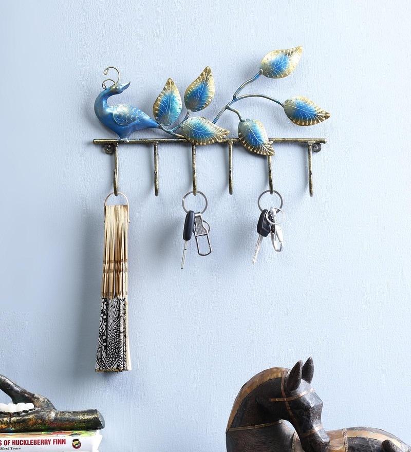 Multicolour Iron Peacock Key Holder by Craftpreneurs India