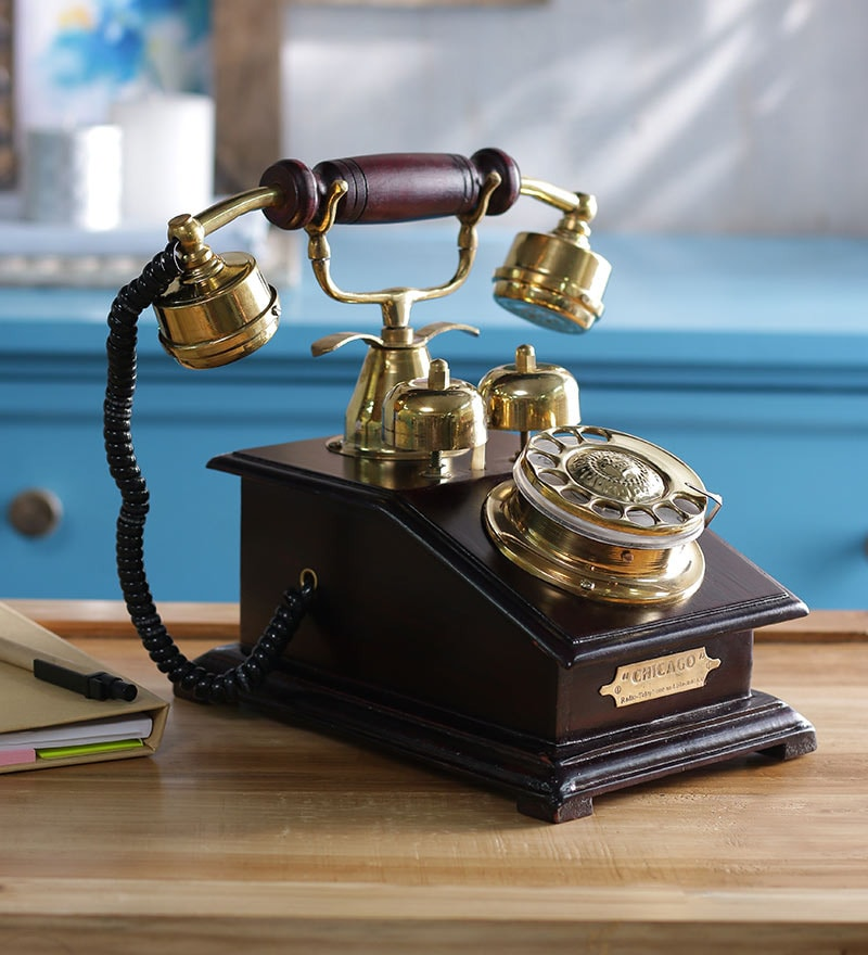 Black Wooden Antique Chicago Brass Telephone by Anantaran