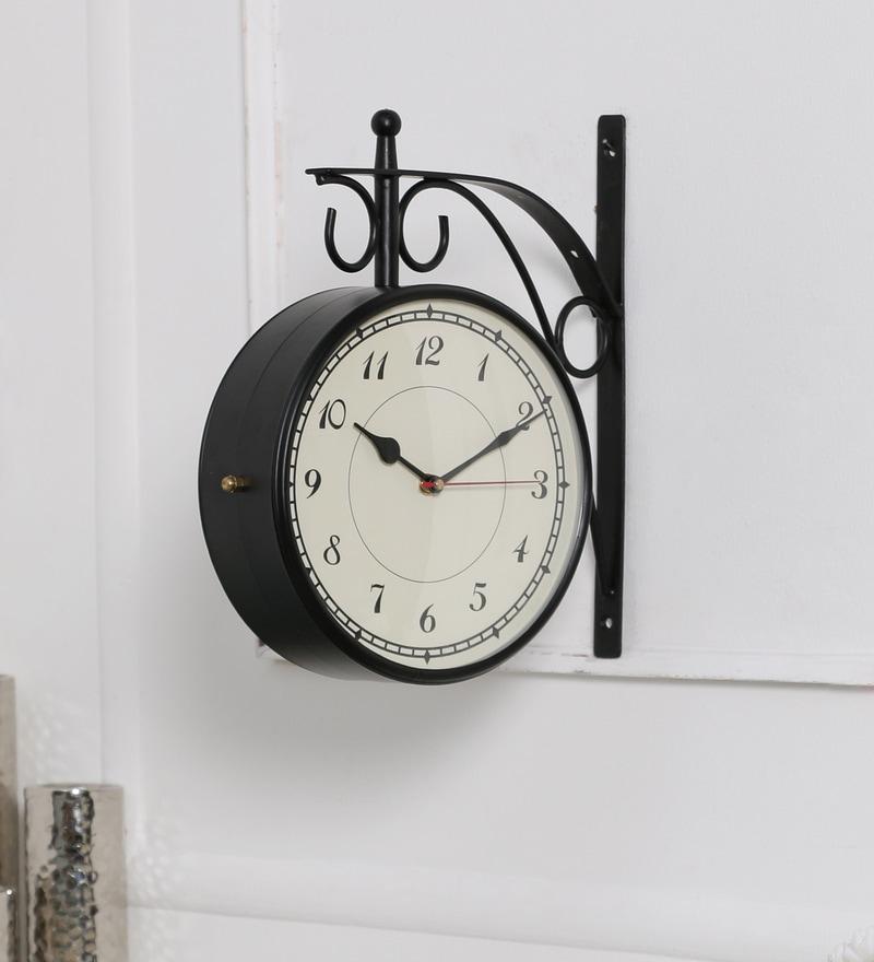 Anantaran Black Metal 10.3 x 4 x 11 Inch Indian Handmade Two Side Retro Railway Wall Clock