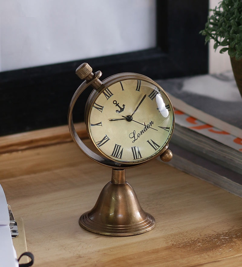 Anantaran Brwon Brass Antique Globe Stand Table Clock