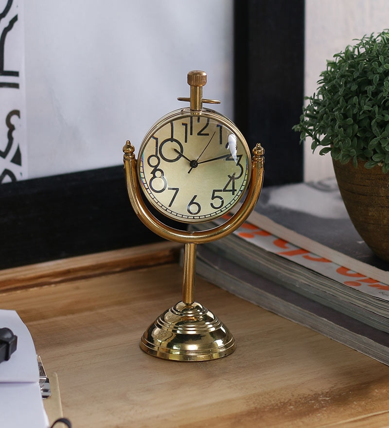 Anantaran Golden Brass Modish Moon Stand Table Clock