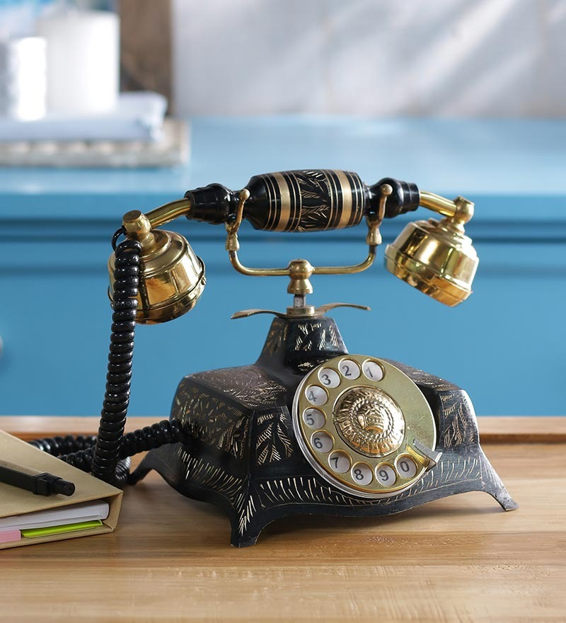 Black Brass Antique Square Hand Carved Telephone by Anantaran