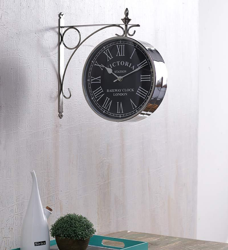 Anantaran Silver Steel Victoria Steel Station Clock Two Side Wall Clock