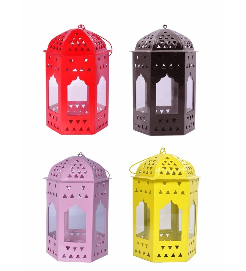 Multicolour Metal Lantern Set of 4 by Anasa