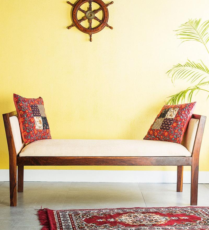 Rosendale Upholstered Bench in Honey Oak Finish by Woodsworth
