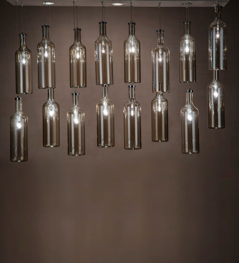 Silver Stainless Steel & Glass Chandelier by Anemos