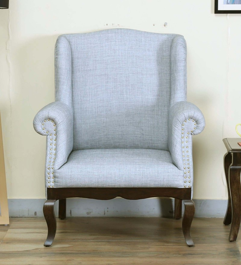 Buy Modern High Back Wing Chair in Ivory Color by Afydecor Online