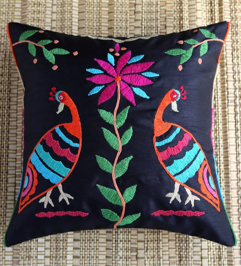 Black Polyester 16 x 16 Inch Tribal Bird Embroidered Cushion Cover by ANS