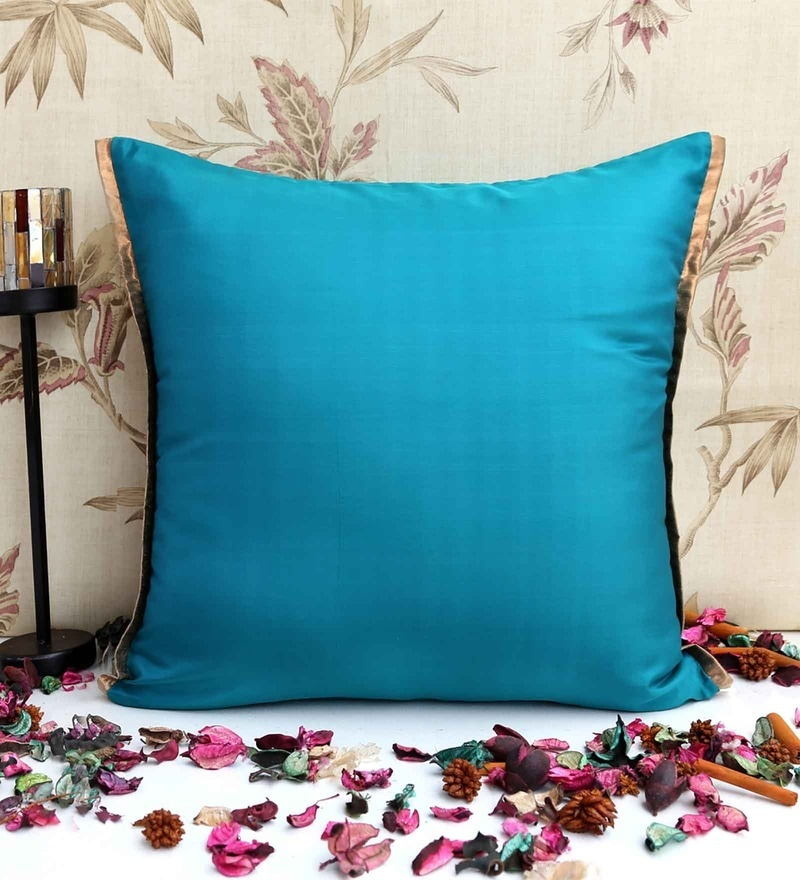 Blue Poly Silk 16 x 16 Inch Cushion Cover by ANS
