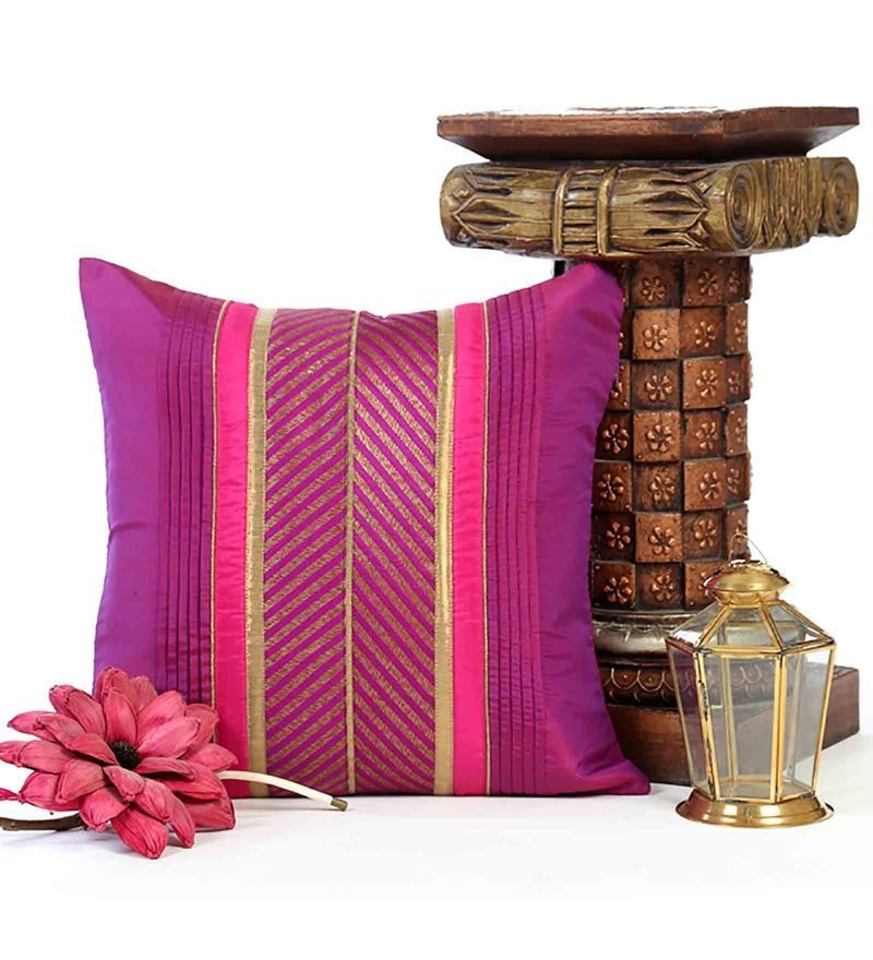 Purple Poly Silk 16 x 16 Inch Cushion Cover by ANS