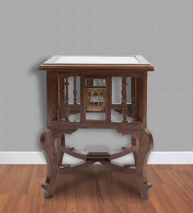 Antique Dhokra Work 18 Inch Teak Wood End Table by VarEesha