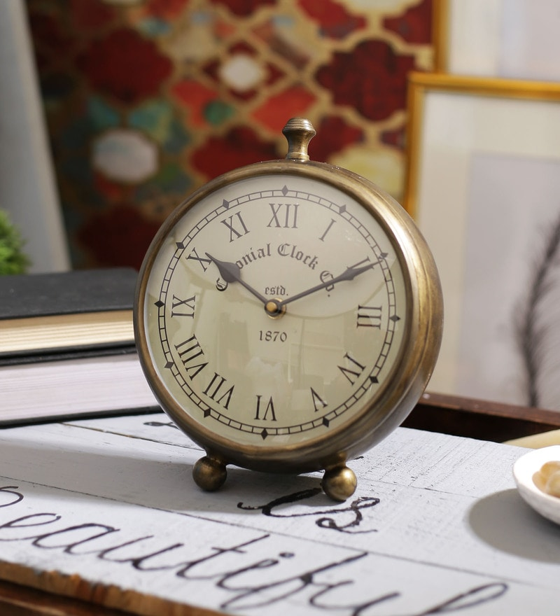 Antique Gold Brass 8 x 3 x 7 Inch Colonial Desk Clock by SWHF