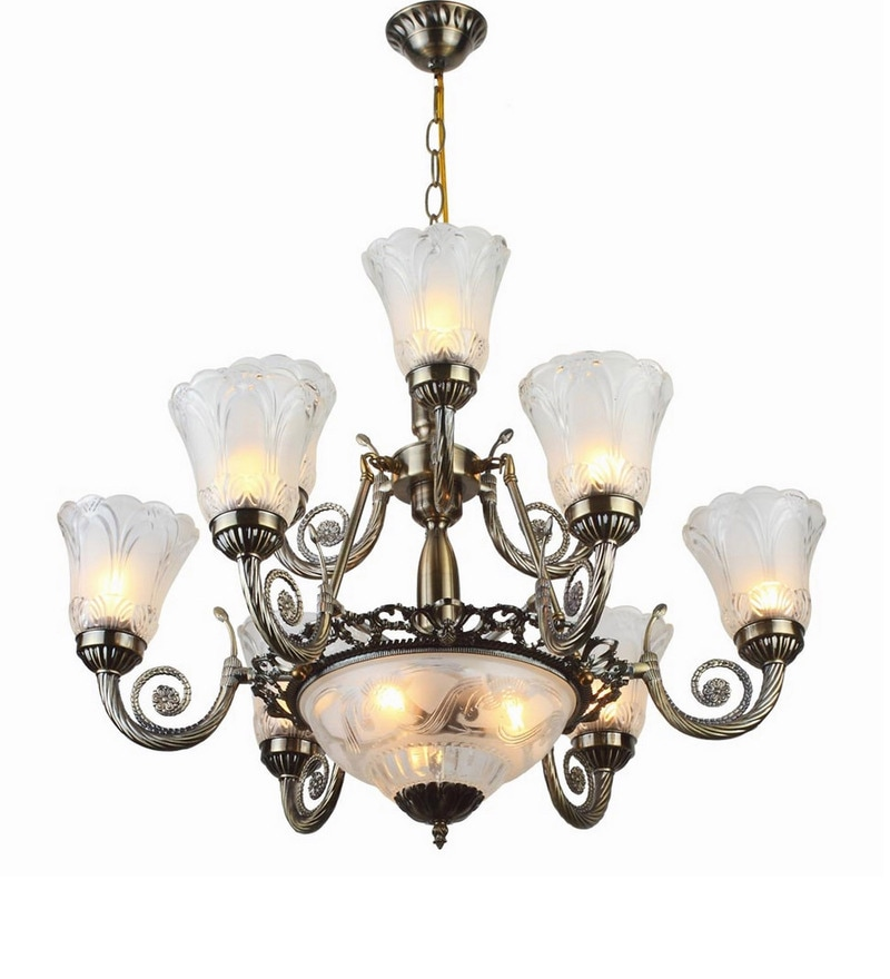 Antique Gold Mild Steel Chandeliers by LeArc Designer Lighting