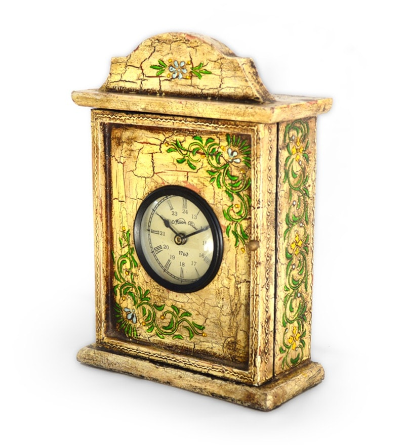 Antique Wooden Table Clock Cum Key Box By Market Finds
