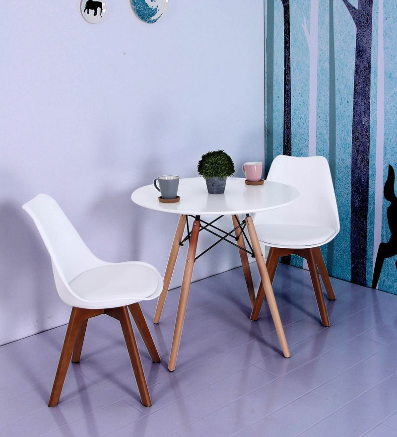 Anzu Accent DSW Eames Replica Plastic Chair (Set of 2) in White Colour by Mintwud