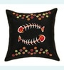 Black Polyester 16 x 16 Inch Fishbone Embroidered Cushion Cover by ANS