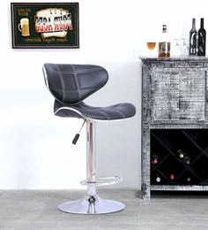 Apple Bar Stool In Black Leatherette By Furniease