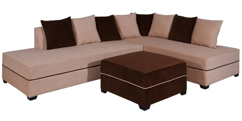 Buy Apollo Lhs Sofa With Pouffe In Light Brown Colour By