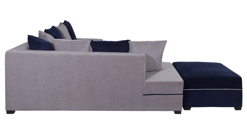 Buy Apollo Rhs Sofa With Ottoman In Grey Amp Blue Colour By