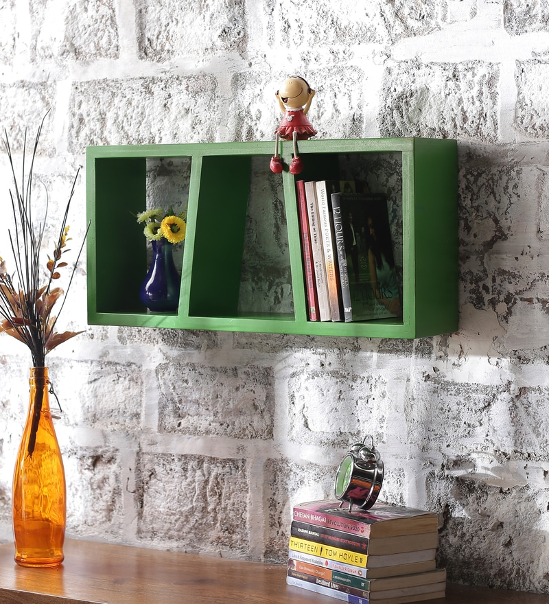 Green Mango Wood Horizontal Three Part Wall Shelves by Appu Art