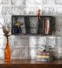 Dark Grey Mango Wood Horizontal Three Part Wall Shelves by Appu Art
