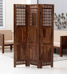 Aramika Solid Wood 3 Panel Room Partitioner In Provicial Teak Finish