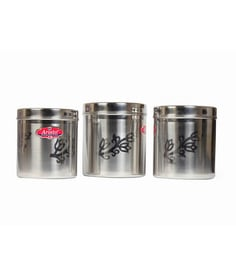 Aristo Silver Stainless Steel Round 9 Litre, 12 Liter, 13 Litre Container - Set Of 3
