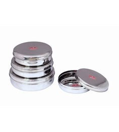 Aristo Stainless Steel Round 2250 Ml, 2750 Ml, 3750 Ml, 4750 Ml Container - Set Of 4