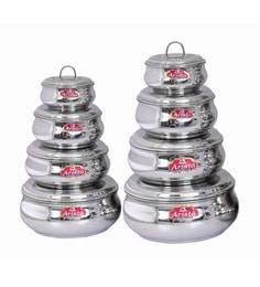 Aristo Stainless Steel Round 250 Ml, 375 Ml, 625 Ml, 750 Ml, 1000 Ml, 1250 Ml, 1760 Ml, 2000 Ml Container - Set Of 8