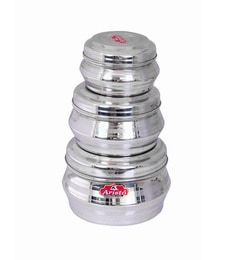 Aristo Stainless Steel Round 500 Ml, 1150 Ml, 2250 Ml Container - Set Of 3