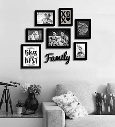 Art Street Black Fibre Wood Family Theme Quote & Family Plaque Photo Frame - Set of 8 at pepperfry