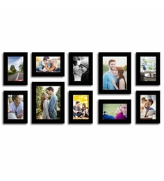 Art Street Black Fibre Wood Stature Individual Wall Photo Frame - Set of 10 at pepperfry