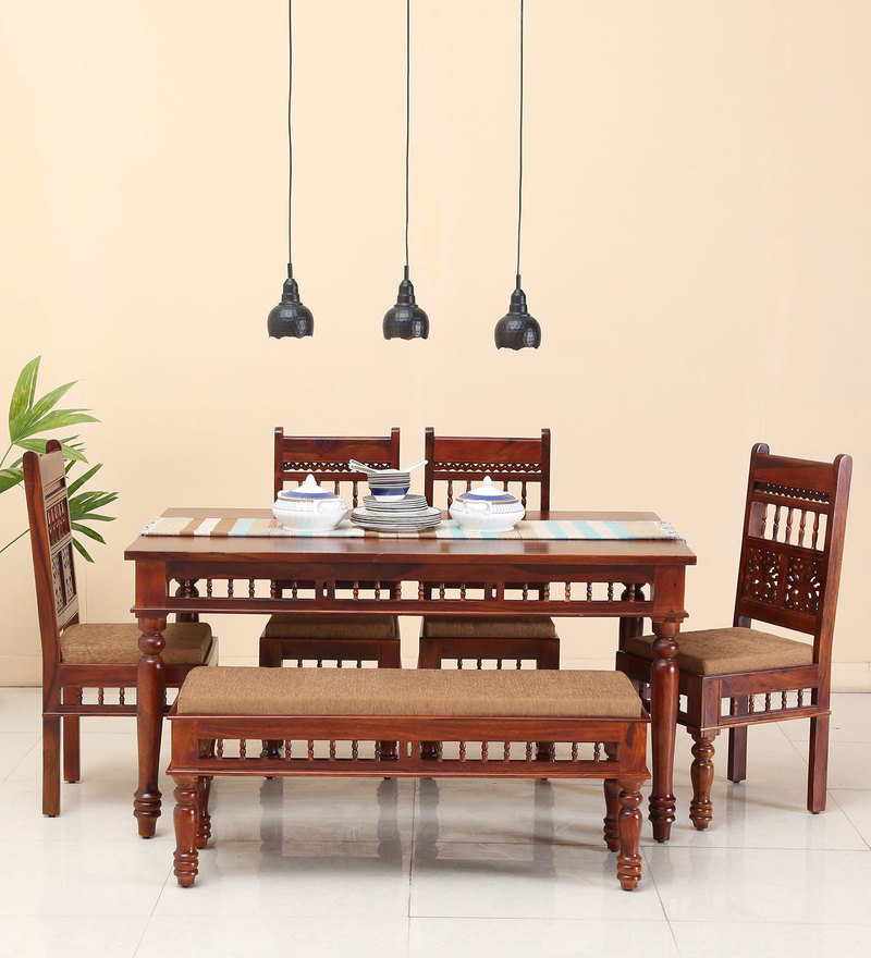Aramika Six Seater Dining Set with Bench in Honey Oak Finish by Mudramark