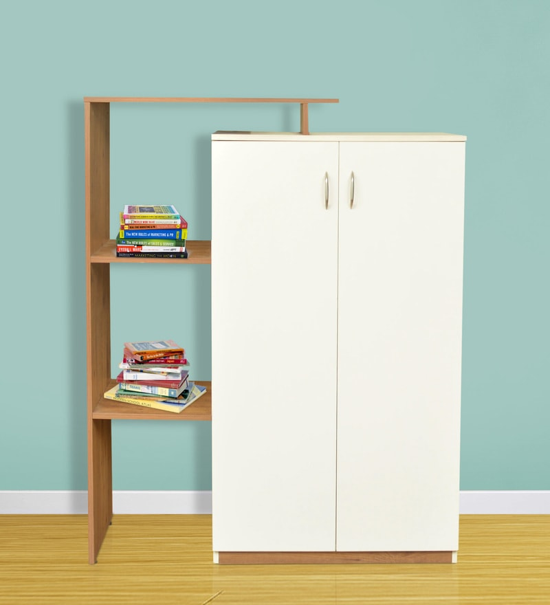 Ariana Back Storage Cabinet in Knotty Wood & White Color by Crystal Furnitech