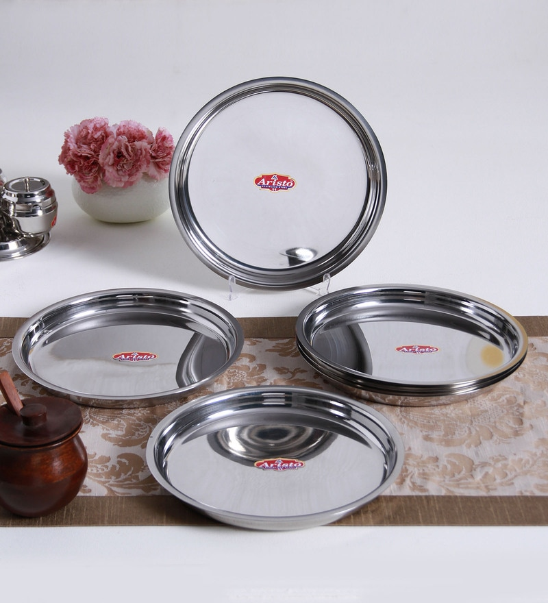 Aristo Traditional Steel Thali - Set of 6