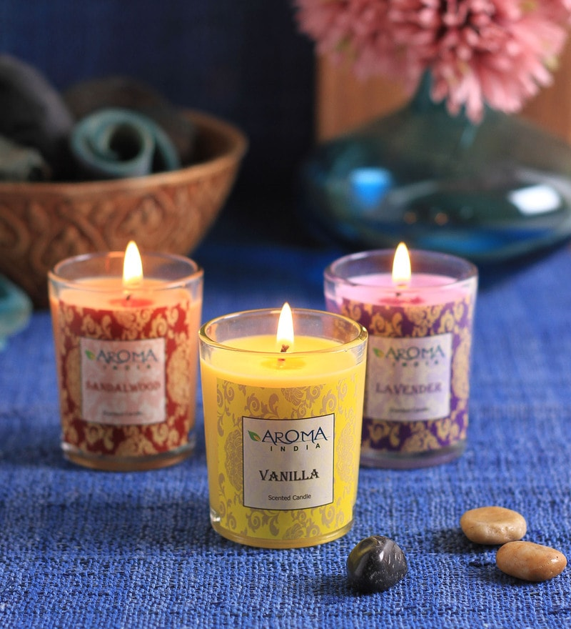 Aroma India Lemongrass, Ocean Breeze & Rose Votive - Set of 3