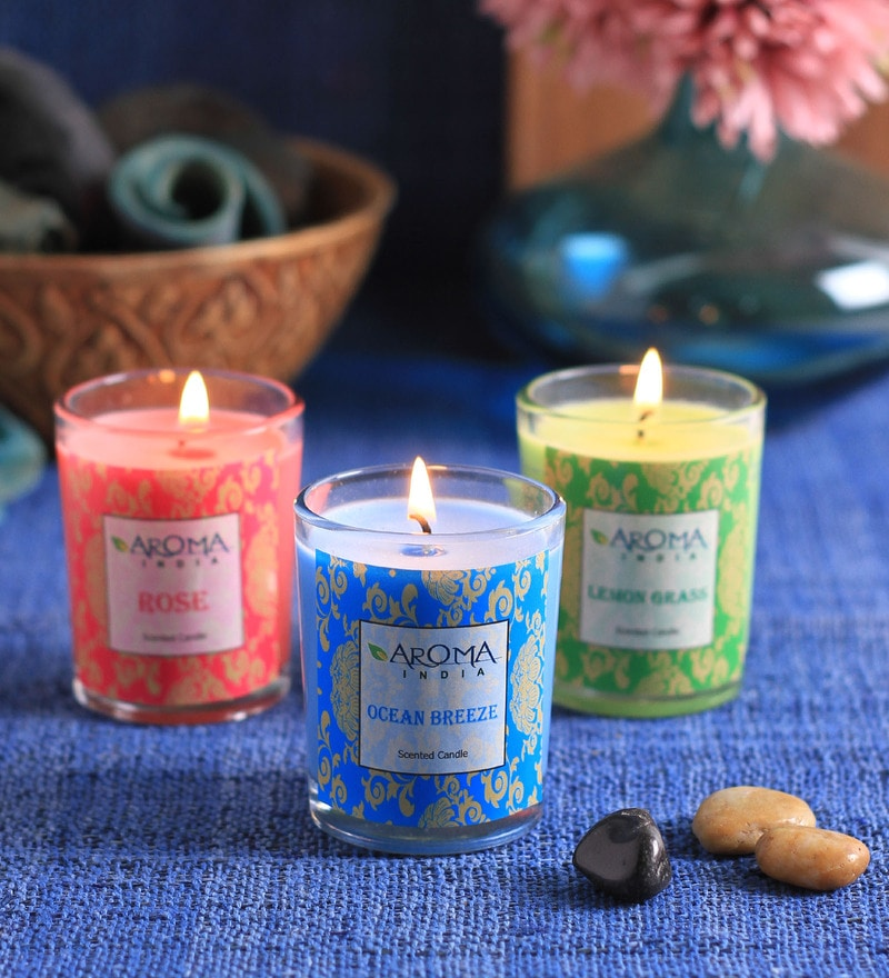 Aroma India Vanilla, Sandalwood & Lavender Votive - Set of 3