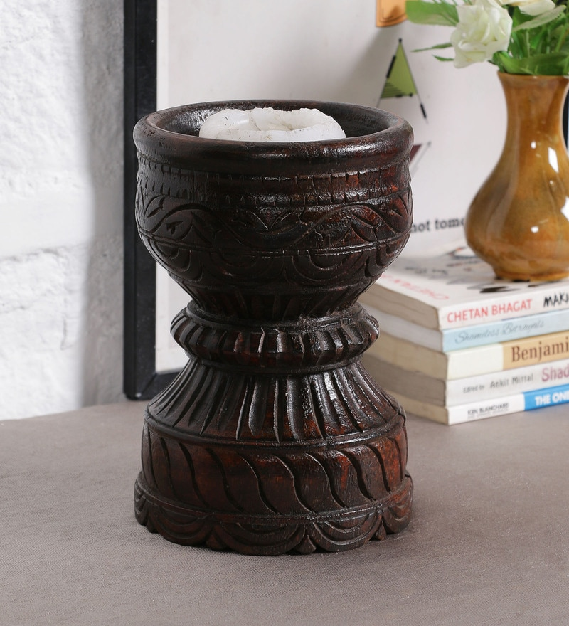 Brown Solidwood Candle Holder by Art of Jodhpur