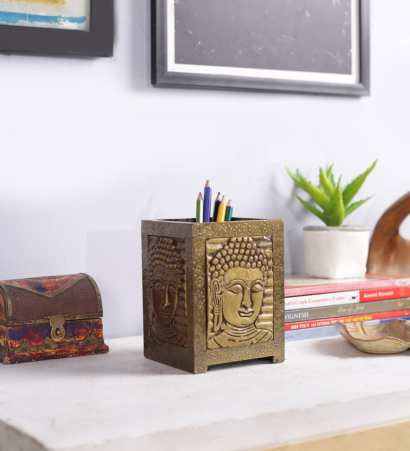 Gold Solid Wood Pen Holder by Art of Jodhpur