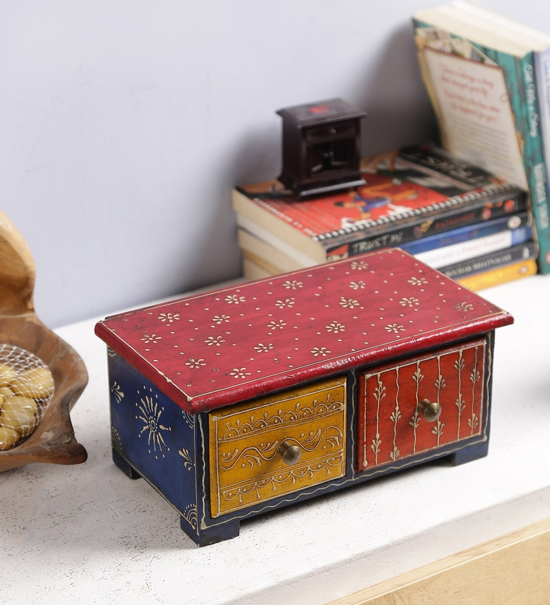 Multicolour Solid Wood Handpainted Jodhpuri Collectible with 2 Drawers by Art of Jodhpur