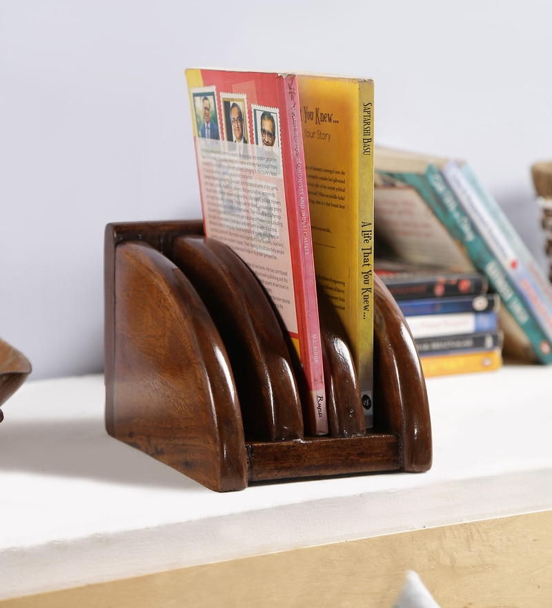 Brown Solid Wood Stationery Holder by Art of Jodhpur