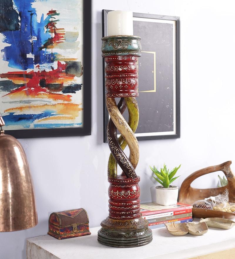 Multicolour Solid Wood Handpainted Jodhpuri Candle Holder by Art of Jodhpur