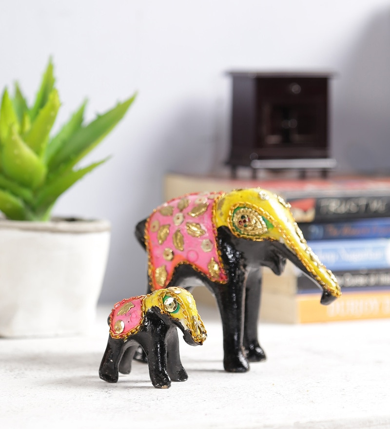 Multicolour Solid Wood Showpieces - Set of 2 by Art of Jodhpur