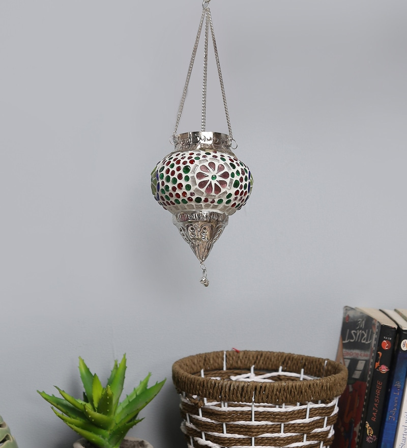 Multicolour Metal & Glass Candle Holder by Art of Jodhpur