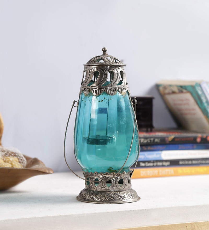 Blue Metal & Glass Candle Holder by Art of Jodhpur