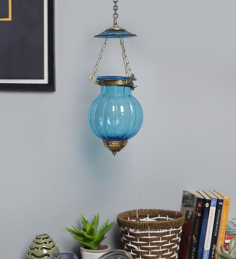 Art of Jodhpur Blue Metal & Glass Candle Holder